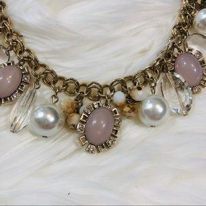 White House Black Market Jewelry - WHBM Pearl, Pink & Gold Charm Necklace